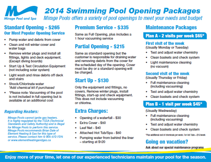 2014 swimming pool opening options brochure