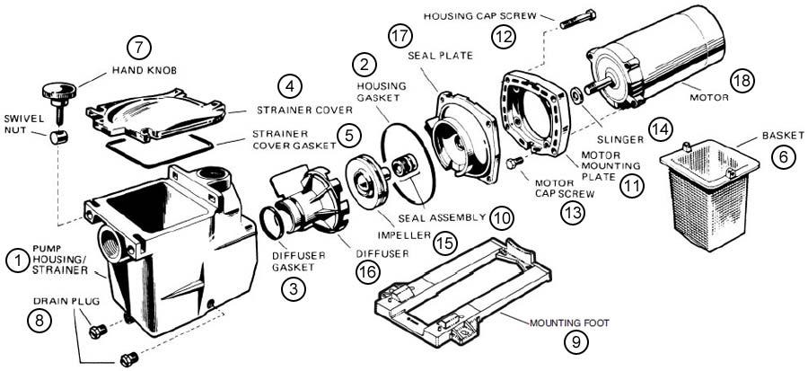 Accessories Toys And Parts on Hayward Super Ii Pump Parts Diagram